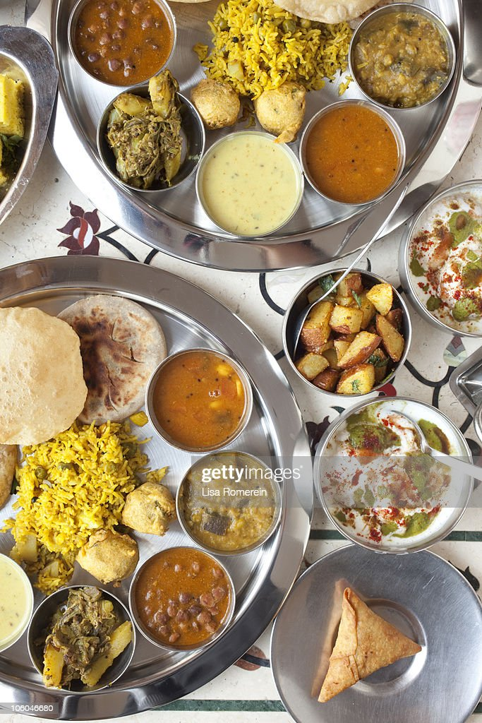 Overhead view of Indian food buffet. : Stock Photo