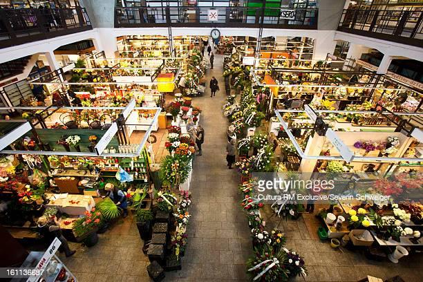 Overhead view of indoor market