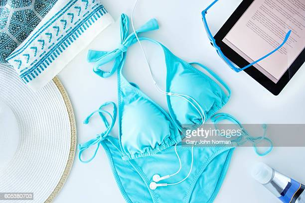 Overhead view of items being prepared for beach trip