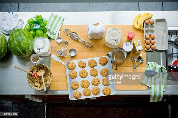 Overhead view of kitchen counter with cookies
