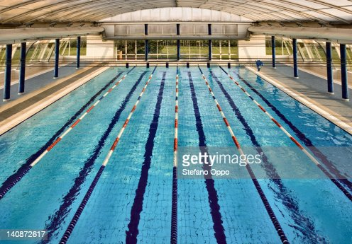 Overhead view of lanes of swimming pool