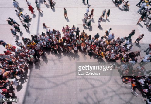 Overhead view of large crowd of people : Stock Photo