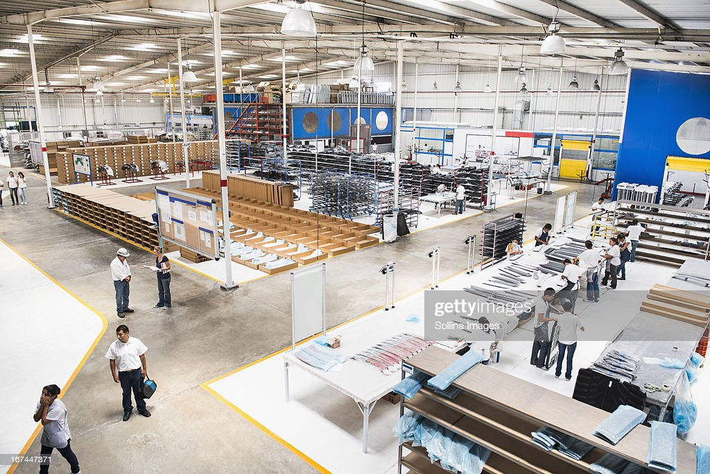 Overhead view of manufacturing plant : Stock Photo