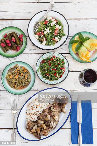 Overhead view of meal with a variety of salads and savoury food, Alacati, Turkey