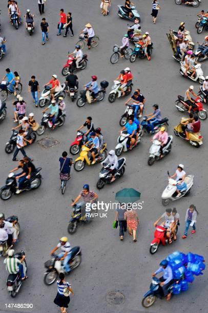 Overhead View of Motorbike Traffic, Hanoi, Vietnam