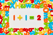 Overhead view of one plus one equals two surrounded with colorful alphabets and numbers on white background. Flat lay of multi colored plastic toys arranged in frame. Image is representing mathematica