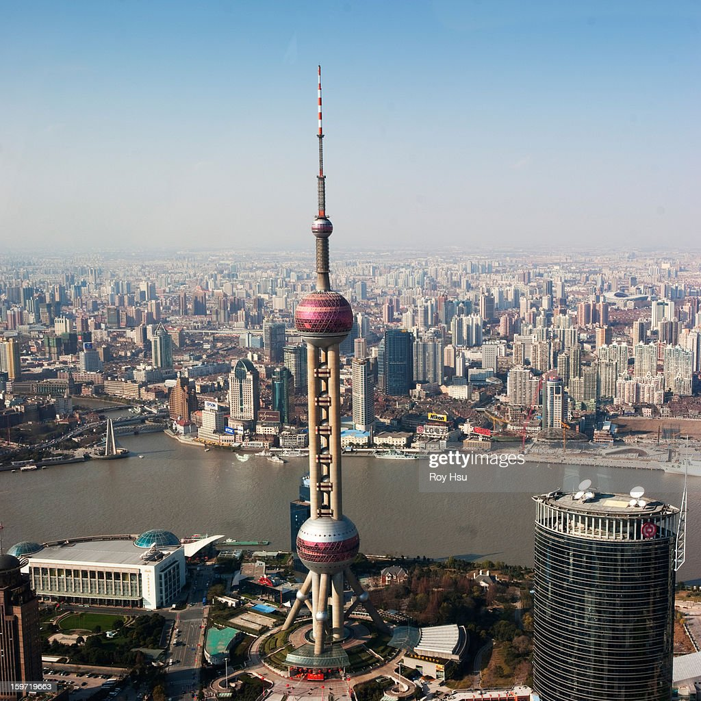 overhead view of oriental pearl tower in Shanghai : Stock Photo