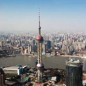 overhead view of oriental pearl tower in Shanghai