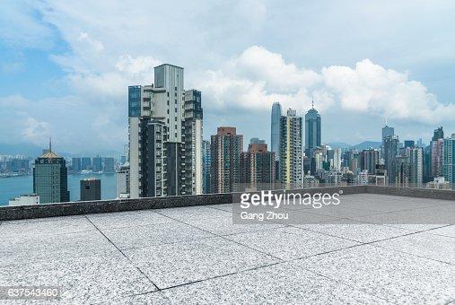 overhead view of panoramic scene of victoria harbor : Stock Photo