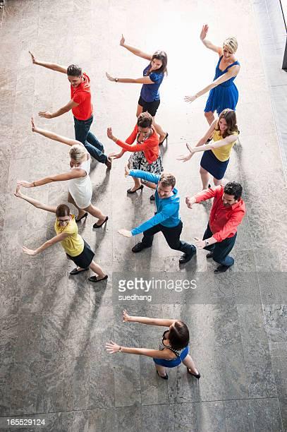 Overhead view of people dancing