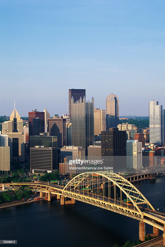 Overhead view of Pittsburgh & Liberty Bridge : Stock Photo