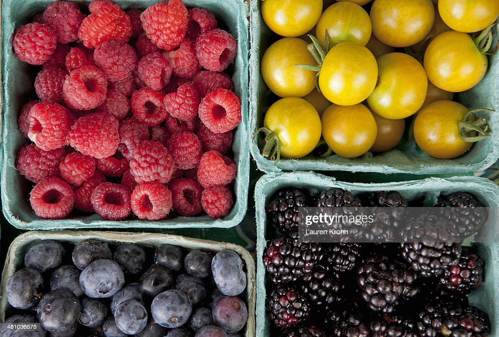 Overhead view of produce at a Farmers Market