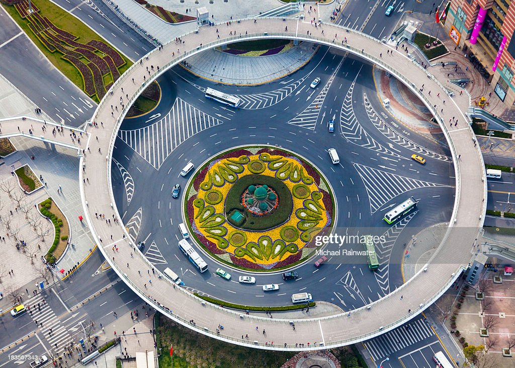 Overhead View of Pudong Traffic Circle