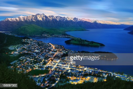 Overhead view of Queenstown and The Remarkables, New Zealand (XXXL)
