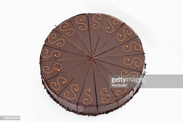 Overhead view of sacher cake
