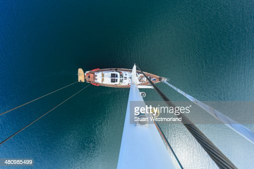 Overhead view of sailing yacht, San Diego, California, USA