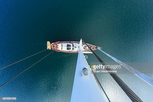 Overhead view of sailing yacht, San Diego, California, USA