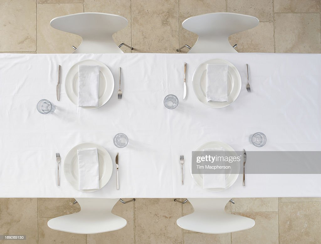Overhead view of set table