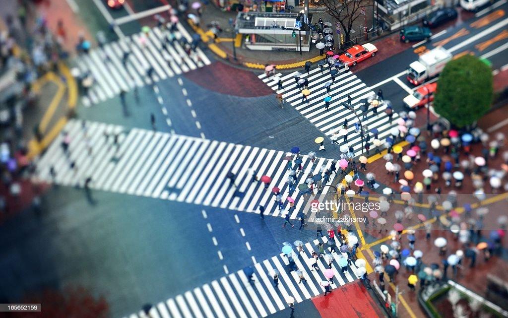 Overhead view of Shibuya Crossing