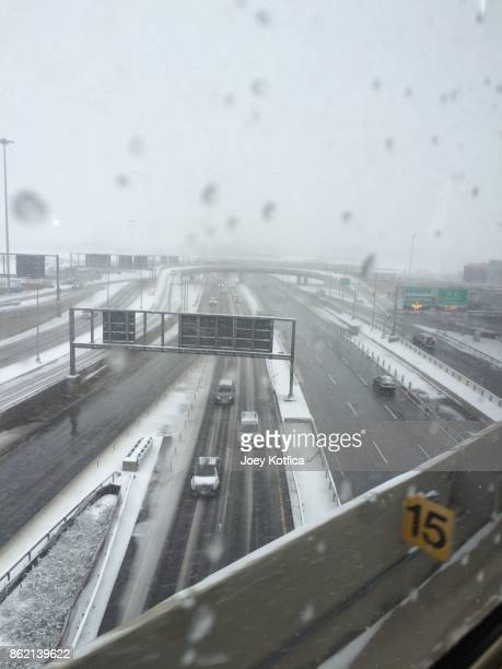 Overhead view of snowy highways in New York City
