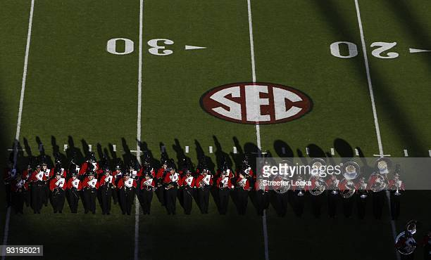 Overhead view of South Carolina Gamecocks marching band with SEC logo during the game against the Florida Gators at WilliamsBrice Stadium on November...