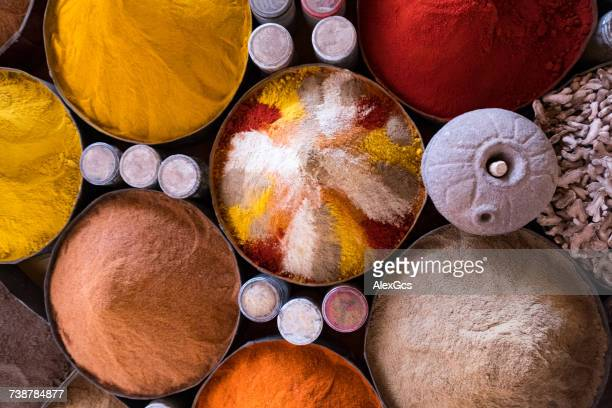 Overhead view of Spices at a market, Morocco