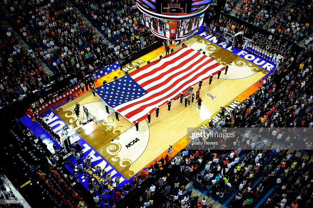 Overhead view of the American Flag prior to the National Final game of the 2013 NCAA Division I Women's Basketball Championship at New Orleans Arena on April 9, 2013 in New Orleans, Louisiana between the Connecticut Huskies and the Louisville Cardinals.