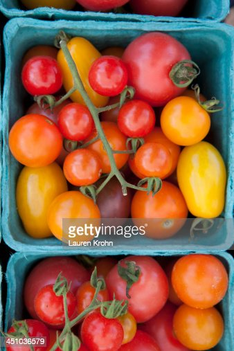 Overhead view of tomatoes at a Farmers Market