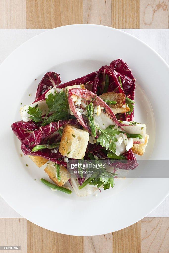 Overhead view of treviso radicchio salad on plate