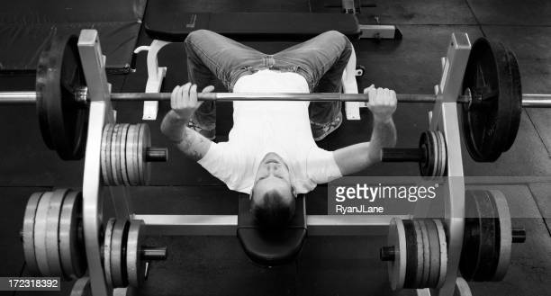 Overhead View of Young Man Weight Lifting