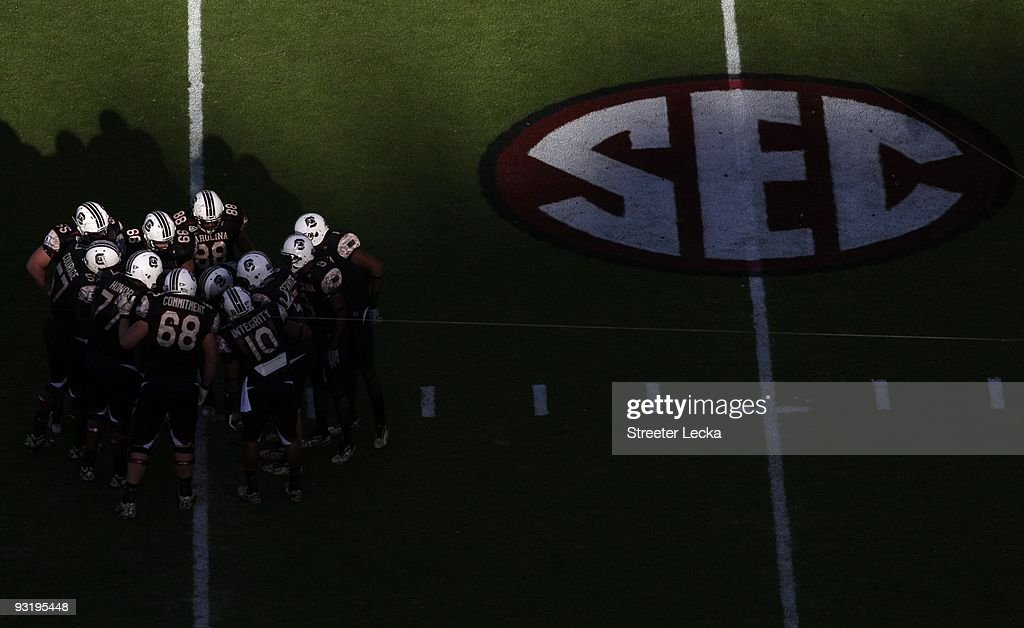 Overhead view with SEC logo as South Carolina Gamecocks players huddle during the game against the Florida Gators at WilliamsBrice Stadium on...
