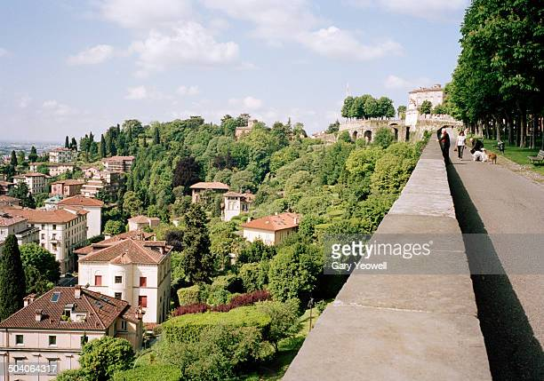 Overlook from old city wall to houses in Bergamo