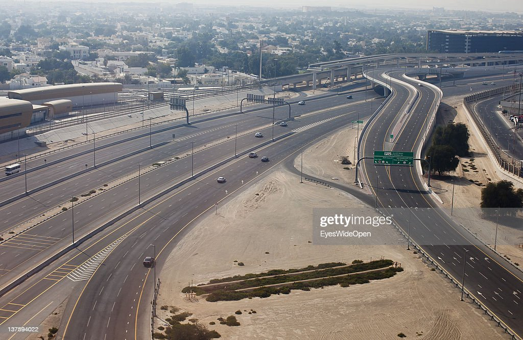 DUBAI, AIRPORT, United Arab Emirates - DECEMBER 25: Overlook on a highway or motorway near Dubai Airport on December 25, 2011 in Dubai, United Arab Emirates