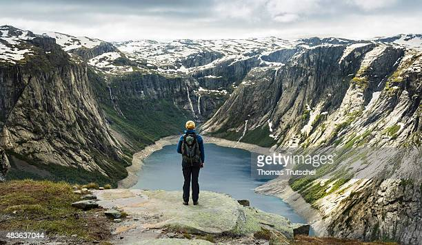 Overlooking a mountain landscape with a lake in Hardangervidda close to Tyssedal in the province Hordaland on July 10 2015 in Tyssedal Norway