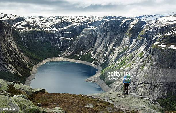 Overlooking a mountain landscape with a lake in Hardangervidda close to Tyssedal in the province Hordaland in Norway on July 07 2015