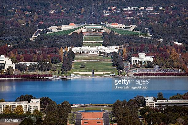 Overlooking Canberra from Mt Ainslie lookout showing Anzac Parade Lake Burley Griffin Old Parliament House New Parliament House and Parliamentary...