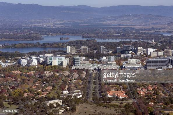 Overlooking Canberra showing Lake Burley Griffin and the Central Business District CBD Canberra Australian Capital Territory ACT Australia