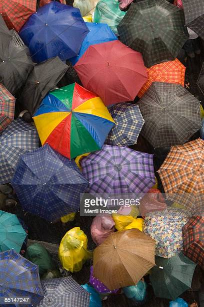 Overlooking crowd of people with umbrellas