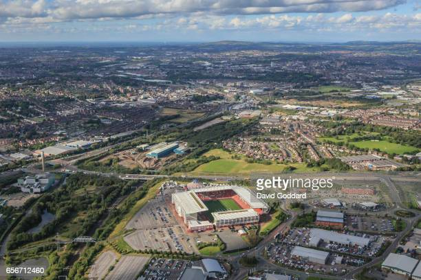 STAFFORDSHIRE ENGLAND SEPTEMBER 19 Overlooking the Trent and Mersey Canal in the South Eastern corner of Stoke and Trent is the Britannia Stadium...