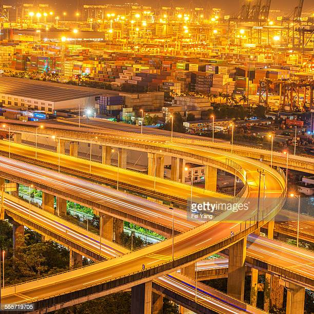 Overpass and harbor at night