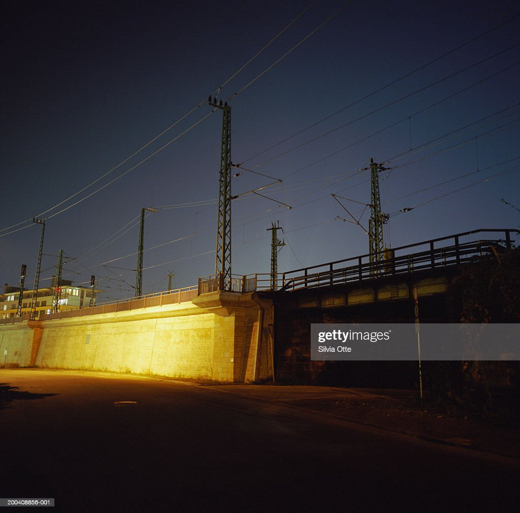 Overpass for trains, night : Stock Photo