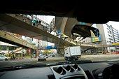 Overpass seen from interior of a car, Tokyo, Japan.