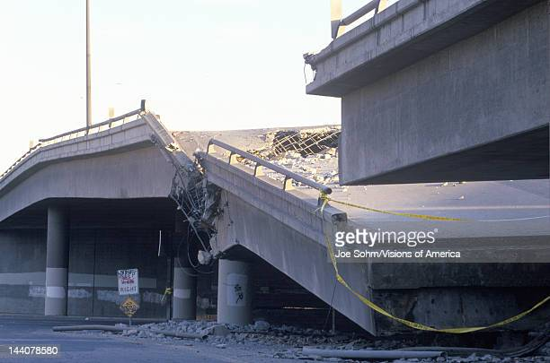 Overpass that collapsed on Highway 10 in the Northridge/Reseda area at the epicenter of earthquake in 1994