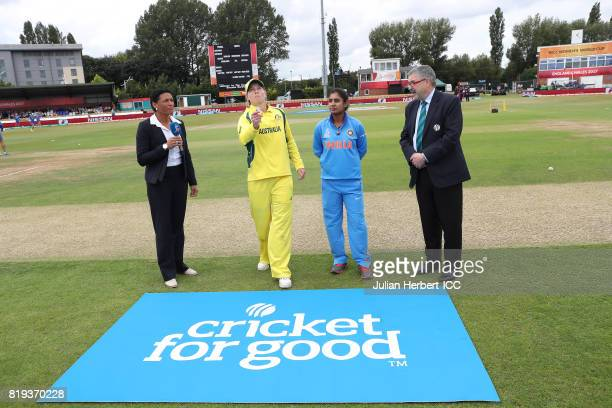 Overseen by Mel Jones and Match Referee David Dukes Meg Lanning of Australia and Mithali Raj of India take part in the coin toss before The Womens...