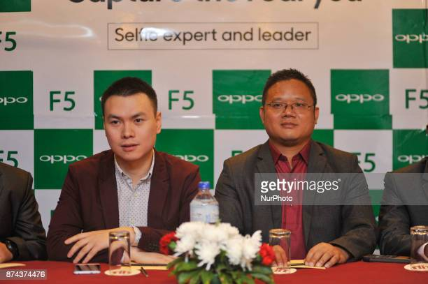 Oversees brand manager and Director of OPPO Nepal Kevin Hu and CEO of OPPO Nepal Bobby Zhao speaking on a press meet during newly launch of OPPO...