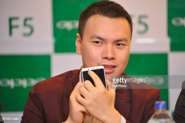 Oversees brand manager and Director of OPPO Nepal Kevin Hu speaking on a press meet during newly launch of OPPO smartphone F5 in Kathmandu Nepal on...