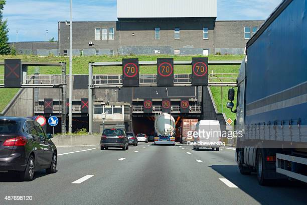 Overtaking   a large blue truck in the Kennedy Tunnel Antwerp