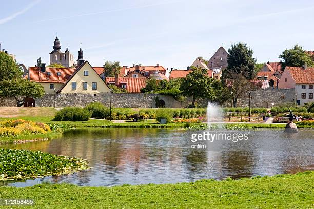 Overview from across the pond of Visby city walls