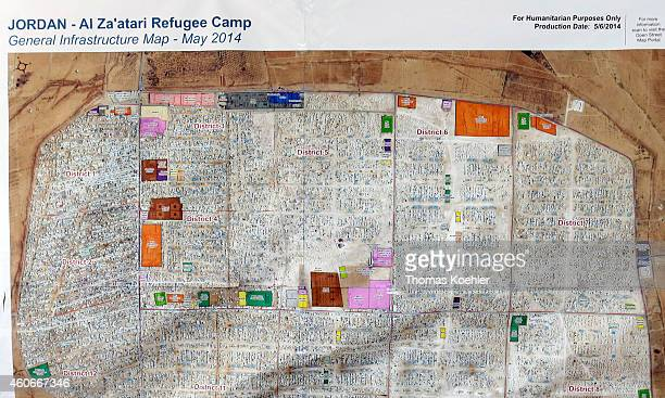 Overview map of Zaatari refugee camp located 10 km East of Mafrag on December 10 2014 in Zaatari Jordan The camp population is estimated at 81000...