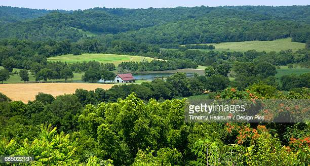 Overview of a scenic farm in early summer as seen from the Natchez Trace Parkway near Fall Hollows
